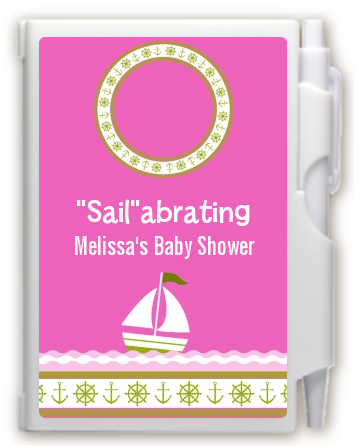Sailboat Pink - Baby Shower Personalized Notebook Favor