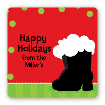 Santa's Boot - Square Personalized Christmas Sticker Labels