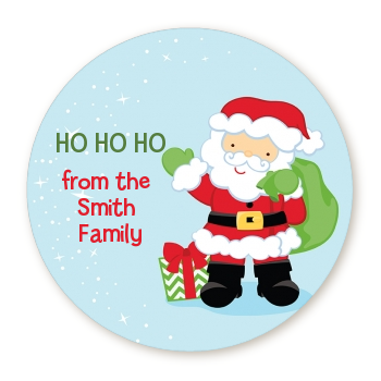 Santa's Green Bag - Round Personalized Christmas Sticker Labels