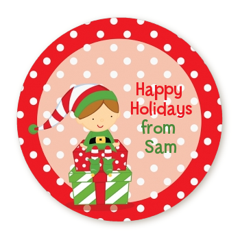 Santa's Little Elf - Round Personalized Christmas Sticker Labels