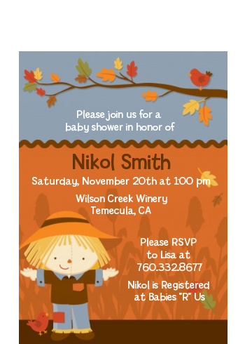 Scarecrow Fall Theme - Baby Shower Petite Invitations