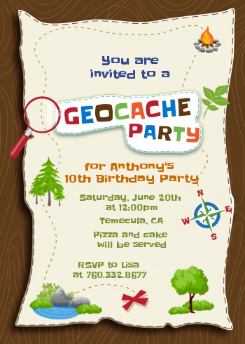 Scavenger Hunt - Birthday Party Invitations Option 1