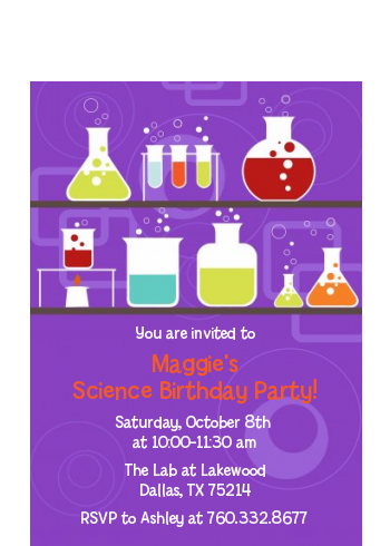 Science Lab - Birthday Party Petite Invitations Option 1