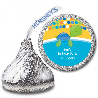 Sea Turtle Boy - Hershey Kiss Birthday Party Sticker Labels