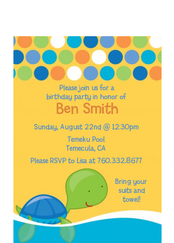 Sea Turtle Boy - Baby Shower Petite Invitations