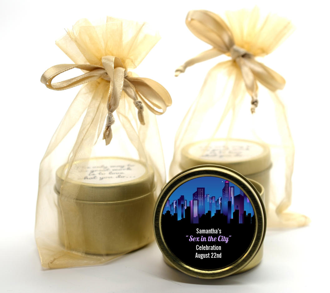 sex in the city bridal shower gold tin candle favors