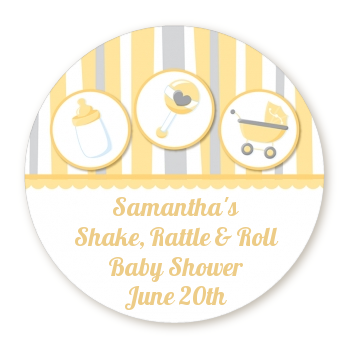 Shake, Rattle & Roll Yellow - Round Personalized Baby Shower Sticker Labels
