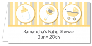 Shake, Rattle & Roll Yellow - Personalized Baby Shower Place Cards