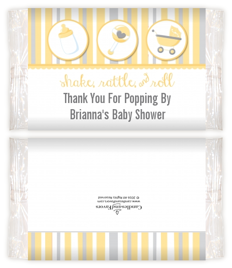Shake Rattle Roll Yellow Baby Shower Popcorn Wrappers Baby