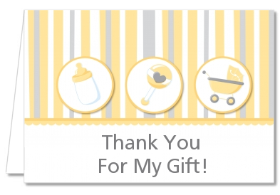 Shake, Rattle & Roll Yellow - Baby Shower Thank You Cards