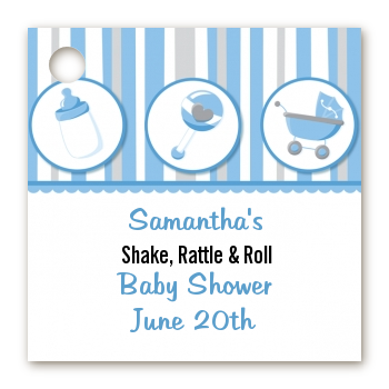 Shake, Rattle & Roll Blue - Personalized Baby Shower Card Stock Favor Tags