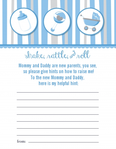 Rattle Roll Blue Baby Shower Notes Of Advice
