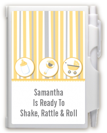 Shake, Rattle & Roll Yellow - Baby Shower Personalized Notebook Favor