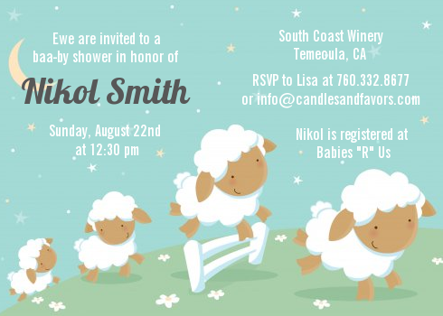 sheep baby shower invitations | candles and favors, Baby shower invitations