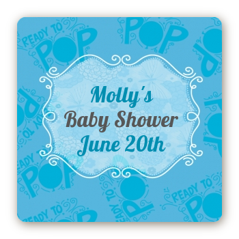 She's Ready To Pop Blue - Square Personalized Baby Shower Sticker Labels