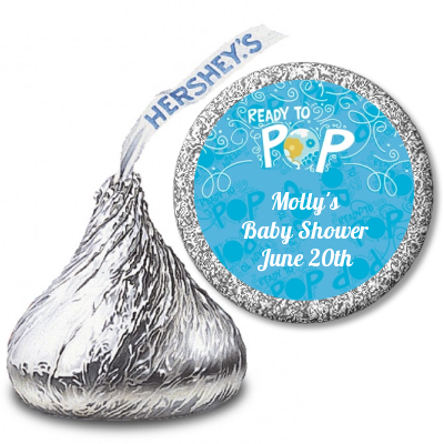 She's Ready To Pop Blue - Hershey Kiss Baby Shower Sticker Labels