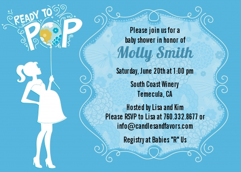 She S Ready To Pop Blue Baby Shower Invitations Candles And Favors