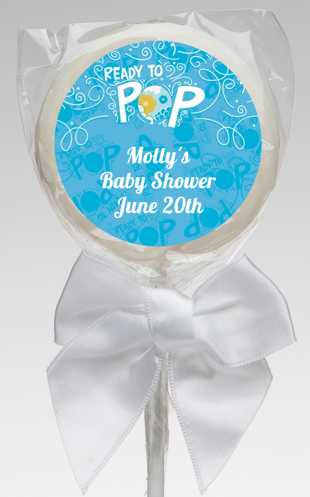 Sheu0027s Ready To Pop Blue   Personalized Baby Shower Lollipop Favors