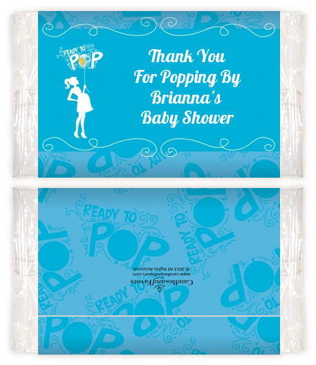 Shes Ready To Pop Blue Baby Shower Popcorn Wrappers Baby Shower