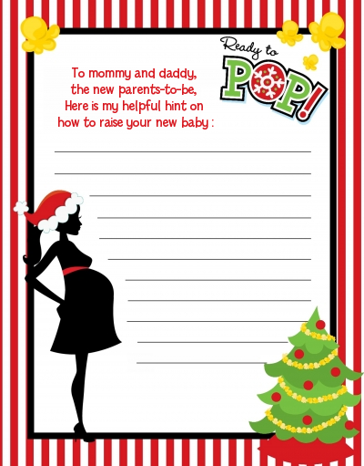 She's Ready To Pop Christmas Edition - Baby Shower Notes of Advice