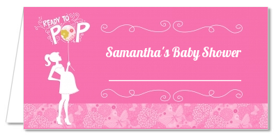 She's Ready To Pop Pink - Personalized Baby Shower Place Cards