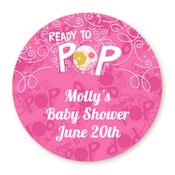 She's Ready To Pop Pink - Round Personalized Baby Shower Sticker Labels