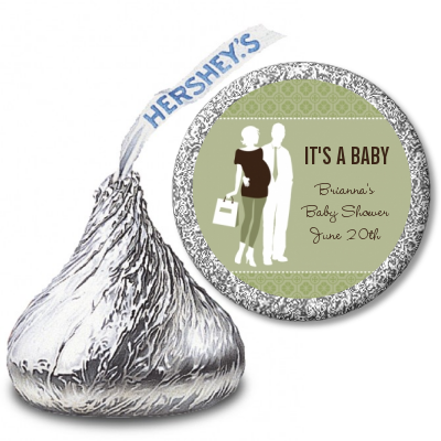 Silhouette Couple | It's a Baby Neutral - Hershey Kiss Baby Shower Sticker Labels