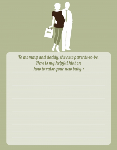 Silhouette Couple | It's a Baby Neutral - Baby Shower Notes of Advice