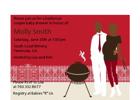 Silhouette Couple BBQ Neutral - Baby Shower Petite Invitations Green
