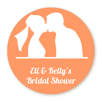 Silhouette Couple - Round Personalized Bridal Shower Sticker Labels