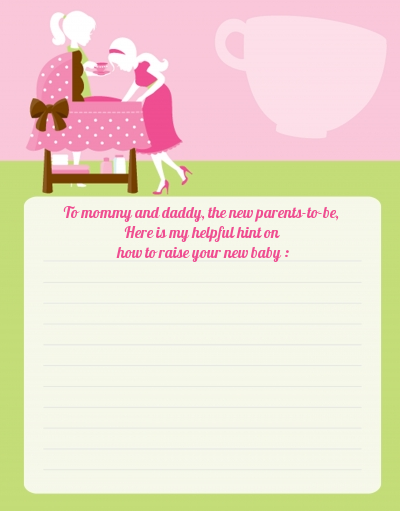 Sip and See It's a Girl - Baby Shower Notes of Advice