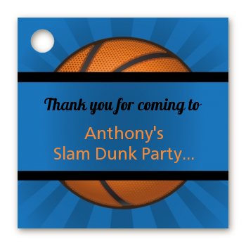 Slam Dunk - Personalized Birthday Party Card Stock Favor Tags