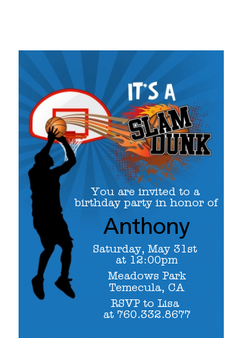 Slam Dunk - Birthday Party Petite Invitations