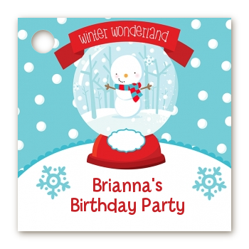 Snow Globe Winter Wonderland - Personalized Birthday Party Card Stock Favor Tags
