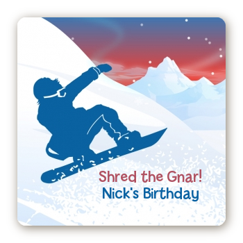 Snowboard - Square Personalized Birthday Party Sticker Labels