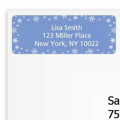 Snowflakes - Birthday Party Return Address Labels
