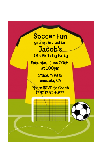 Soccer Jersey Yellow and Red - Birthday Party Petite Invitations