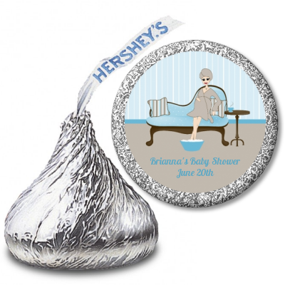 Spa Mom Blue - Hershey Kiss Baby Shower Sticker Labels