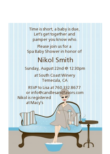 Spa Mom Blue - Baby Shower Petite Invitations