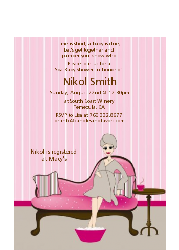 Spa Mom Pink - Baby Shower Petite Invitations
