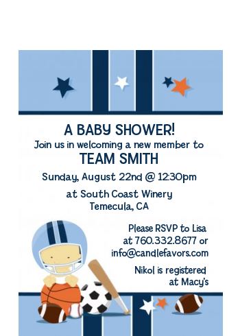 Sports Baby Asian - Baby Shower Petite Invitations