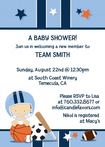 Sports Baby Caucasian Shower Invitations