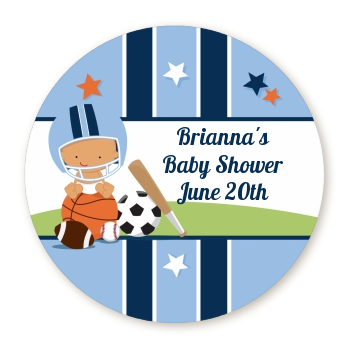 Sports Baby Hispanic - Round Personalized Baby Shower Sticker Labels Caucasian