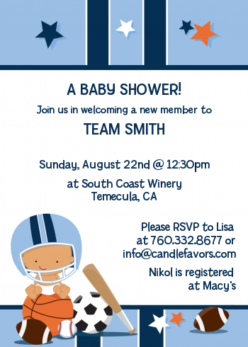 Sports baby hispanic baby shower invitations candles and favors sports baby hispanic baby shower invitations filmwisefo