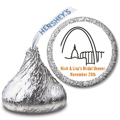 St. Louis Skyline - Hershey Kiss Bridal Shower Sticker Labels