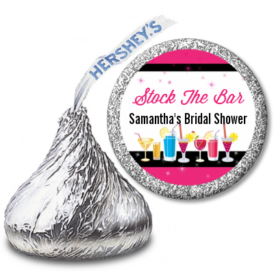 Stock the Bar Cocktails - Hershey Kiss Bridal Shower Sticker Labels