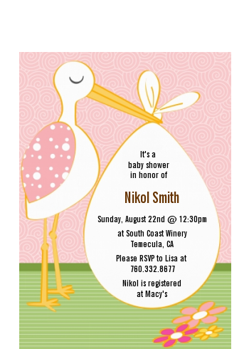Stork It's a Girl - Baby Shower Petite Invitations