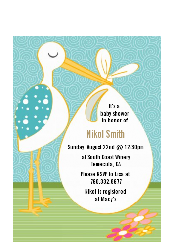 Stork Neutral - Baby Shower Petite Invitations Blue