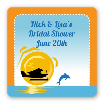 Sunset Trip - Square Personalized Bridal Shower Sticker Labels