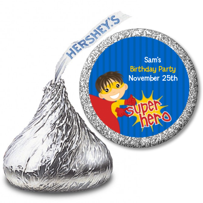 Superhero Boy - Hershey Kiss Birthday Party Sticker Labels